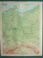 1921 LARGE MAP ~ GERMANY EASTERN SECTION BERLIN MECKLENBURG STETTIN FRANKFURT