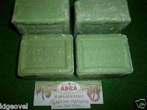 Pure Olive Oil Green Soap 4 x 150gr Original Traditional Greek Crete island