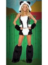 Woman's Ladies Black/White Panda Bear Animal Zoo Fancy Dress Costume Size 4 6 8