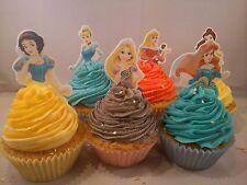 12 x DISNEY PRINCESS HALF BODY STAND UP Precut Edible Cupcake Cake Toppers