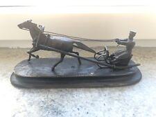 Antique 1800s Famous Russian Bronze Desk Figure Cossack Horses Sleigh