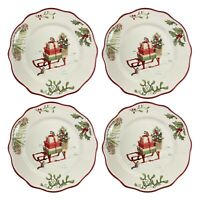 Better Homes & Gardens Heritage 4 Set Salad Plates Holly Sleigh Dinner Christmas