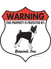 "Warning! Basenji - Property Protected Aluminum Dog Sign - 7"" x 8"" (Badge)"