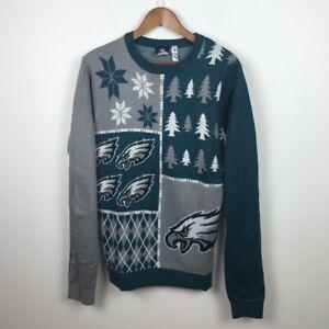 Philadelphia Eagles Mens Sz L Green Gray Ugly Christmas Sweater NFL Team Apparel