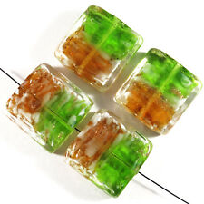 Set of 4 Glass Beads Lampwork Murano Square 20mm Green Brown