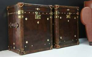 Bespoke Handmade Antique leather Occasional Side TableTrunks