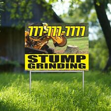 Stump Grinding Yard Sign Corrugate Plastic With H Stakes Custom Phone Number