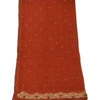 Tcw  Vintage Dupatta Long Stole Chiffon Silk Orange Hand Beaded Wrap Veil