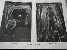Gravure 1886 - Les Mines et les Mineurs Les Piqueurs Le doyen de la Mine