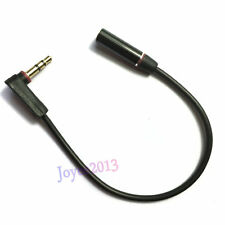 Black Right Angle 20cm 3.5mm Male to Female Extention Stereo Audio Cable 3-pole