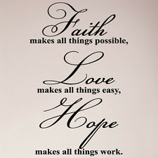 "36"" Faith Makes All Things Possible Hope Love Large Wall Decal Sticker Christian"