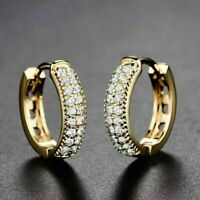 1.00 Ct Round Cut Diamond Huggie Hoop Earrings Solid 14K Yellow Gold Finish
