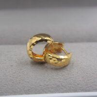 AU750 Pure 18K Yellow Gold Hoop Women Laser Surface Earrings / 1.5g