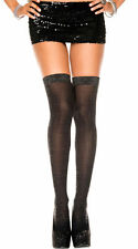 GALLERY NWT BLACK & SILVER L THIGH HIGH STOCKINGS Shimmer  LUREX