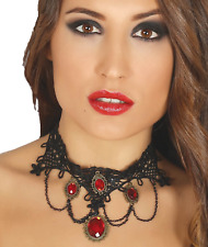 Ladies Vampire Black Red Choker Halloween Fancy Dress Costume Outfit Accessory