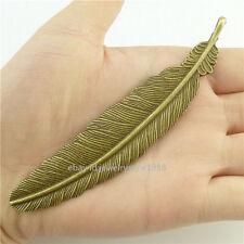 16144*5PCS Antique Bronze Large Nice Feather Pendant Charm Fit Bookmark Alloy