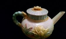 Antique Majolica Water Lily Teapot and Lid by Samuel Lear