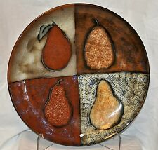 """Isle of Wight? Studio Pottery Huge Wall Platter/Shallow Bowl-16"""" Speckled Pears"""