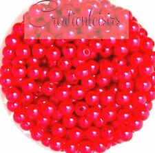 Lot de 100 Perles ronde nacré acrylique rouge 6 mm