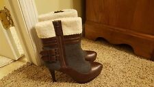 ELLE women's brown and gray faux shearling boots size 9 NEW