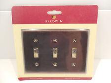 Baldwin Antique Brass Triple Toggle Switch Wall Plate Laiton Massif 4770-112-CD