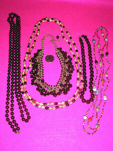 COSTUME JEWELLERY NECKLACES X 5 BLACK GREEN COLOURED BEADS