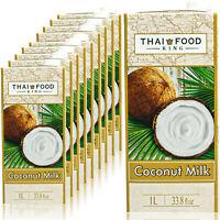 Thai Food King - 10 x Premium Kokosmilch 1 Liter - Kokosnussmilch Coconut Milk