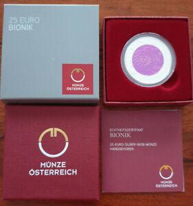 Österreich 2012 25€ NIOB BIONIK Handgehoben Silber TOP
