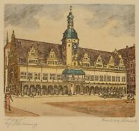 Friedrich Schick (20.Jh.), Ansicht des Leipziger Rathauses, um 1940, Kol. Rad.