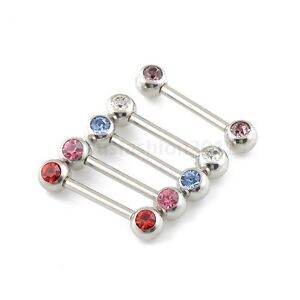 """5 pairs 14G 1/2"""" Double Front Facing CZ Gem 316L Steel Barbells Nipple Rings"""