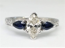Pear Blue Sapphire Engagement Ring Forever Brilliant Marquise Moissanite &