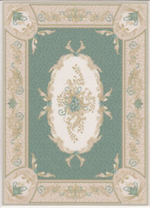 """Dollhouse Miniature Green Oriental Style Large Accent Rug 9/8"""" x 6 3/4"""" RG137"""