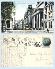 St James Street  Montréal Quebec Canada circa 1907 Postcard Streetcars Buildings