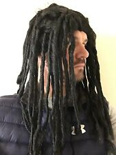 MENS LONG RASTA REGGAE WIG FANCY DRESS BLACK RUUD DREADLOCKS GULLIT BOB MARLEY