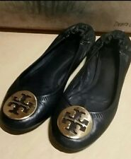 Tory Burch Womens Size 6 Reva Black Leather Ballet Flats Gold Logo Shoes