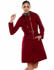 NWOT ISAAC MIZRAHI LIVE! DOUBLE BREASTED ZIP FRONT WOOL TRENCH COAT RED 14 $144