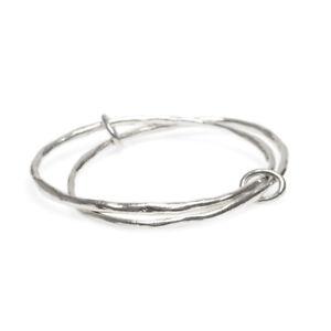 Sterling Silver Bangle Bracelet Hammered Organic Design Hallmarked London 2018