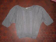 Pull ample manches 3/4 gris dentelle transparente femme JACQUELINE RIU taille 38