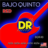 DR Strings BQR-10 Neon Red Bajo Quinto guitar Strings Neon Red