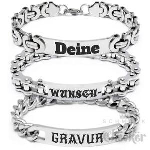 Herren Armband mit individueller Gravur Wunsch-Text Edelstahl Armkette Geschenk