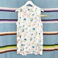 J Jill Tank Top Size Medium Petite White Colorful Floral Print Linen Button Down