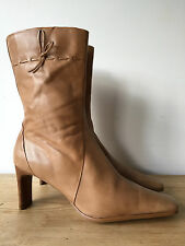 CLARKS LADIES BEIGE LEATHER ANKLE BOOTS UK5.5