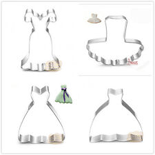 4 Pcs Packed Wedding Dress Stainless Steel Cookie Dessert Cake Cutter DIY Mould