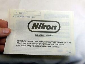 Nikon zoom touch 500 camera Sure Shot  warranty card vintage
