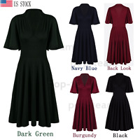 Pleated Retro Rockabilly 50s 60s Swing Dress Picnic Evening Party Cocktail Dress