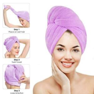 Bamboo Fiber Hair Towel Bath Shower Quick Dry Twist Cap Turban Wrap Head D3N0