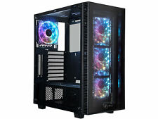 ATX Mid Tower Gaming PC Computer Case, 4 x 120mm RGB LED Pre-Installed Case Fans