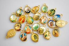 100Pcs Religious Crosses Enamel Medals Charms Pendants Cross 15mm