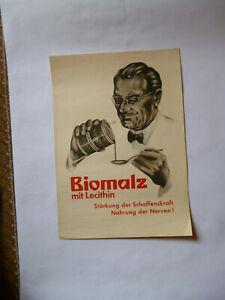 Biomalz mit Lecithin Nervennahrung Teltow Original Plakat 1930er Jahre Selten !