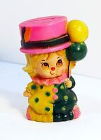Vintage 1970s Plastic Funny Girl Clown Bank Souvenir Coin / Piggy Bank w/Plug